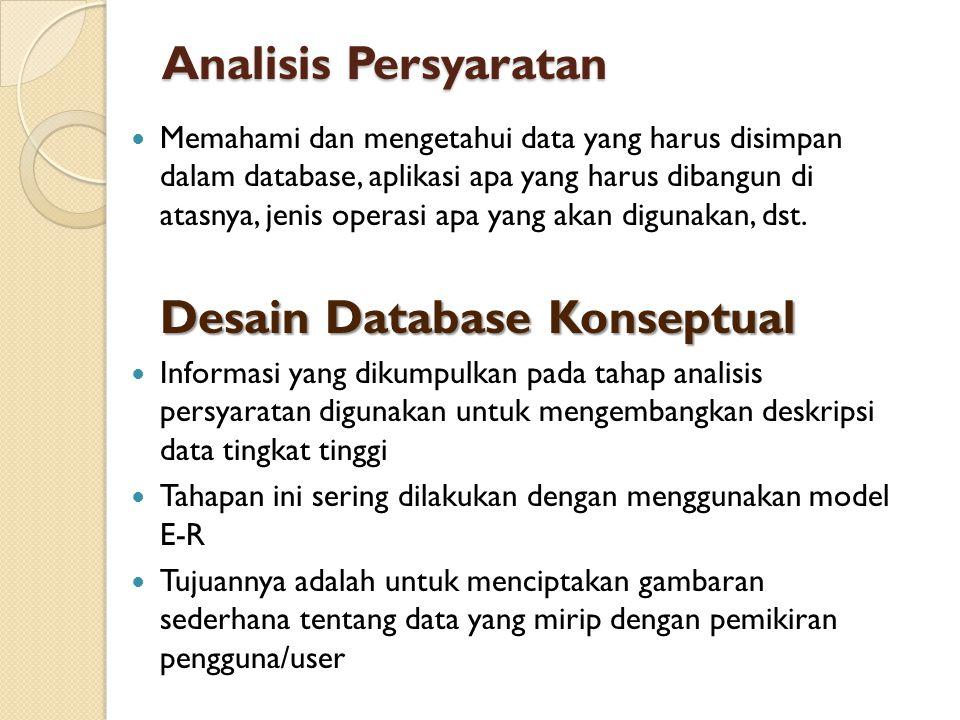 Analisis Persyaratan  Memahami dan mengetahui data yang harus disimpan dalam database, aplikasi apa yang harus dibangun di atasnya, jenis operasi apa