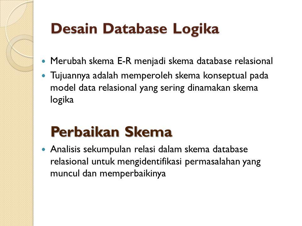 Desain Database Logika  Merubah skema E-R menjadi skema database relasional  Tujuannya adalah memperoleh skema konseptual pada model data relasional