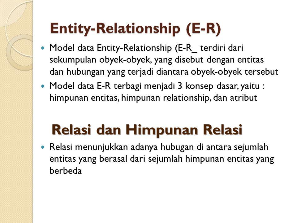 Entity-Relationship (E-R)  Model data Entity-Relationship (E-R_ terdiri dari sekumpulan obyek-obyek, yang disebut dengan entitas dan hubungan yang te