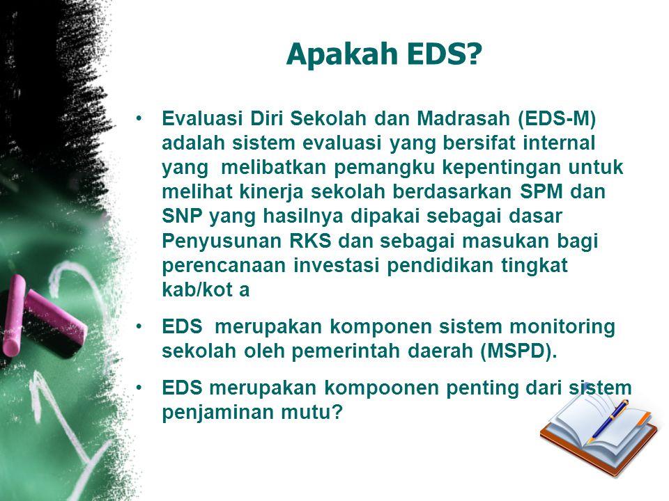 Apakah EDS? •Evaluasi Diri Sekolah dan Madrasah (EDS-M) adalah sistem evaluasi yang bersifat internal yang melibatkan pemangku kepentingan untuk melih