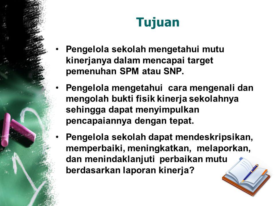 Tujuan •Pengelola sekolah mengetahui mutu kinerjanya dalam mencapai target pemenuhan SPM atau SNP. •Pengelola mengetahui cara mengenali dan mengolah b