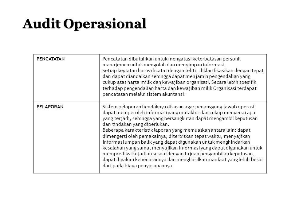 Audit Operasional PENCATATANPencatatan dibutuhkan untuk mengatasi keterbatasan personil manajemen untuk mengolah dan menyimpan informasi. Setiap kegia