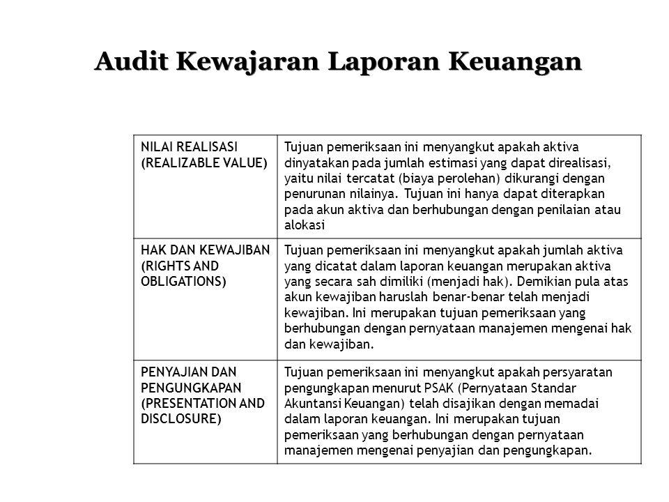 Audit Kewajaran Laporan Keuangan NILAI REALISASI (REALIZABLE VALUE) Tujuan pemeriksaan ini menyangkut apakah aktiva dinyatakan pada jumlah estimasi ya