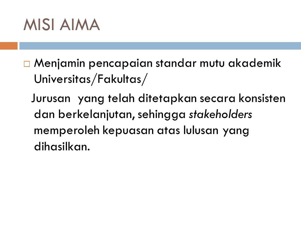  Menjamin pencapaian standar mutu akademik Universitas/Fakultas/ Jurusan yang telah ditetapkan secara konsisten dan berkelanjutan, sehingga stakehold