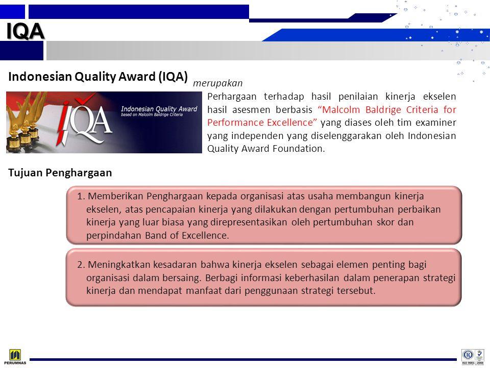 """IQA Indonesian Quality Award (IQA) Perhargaan terhadap hasil penilaian kinerja ekselen hasil asesmen berbasis """"Malcolm Baldrige Criteria for Performan"""