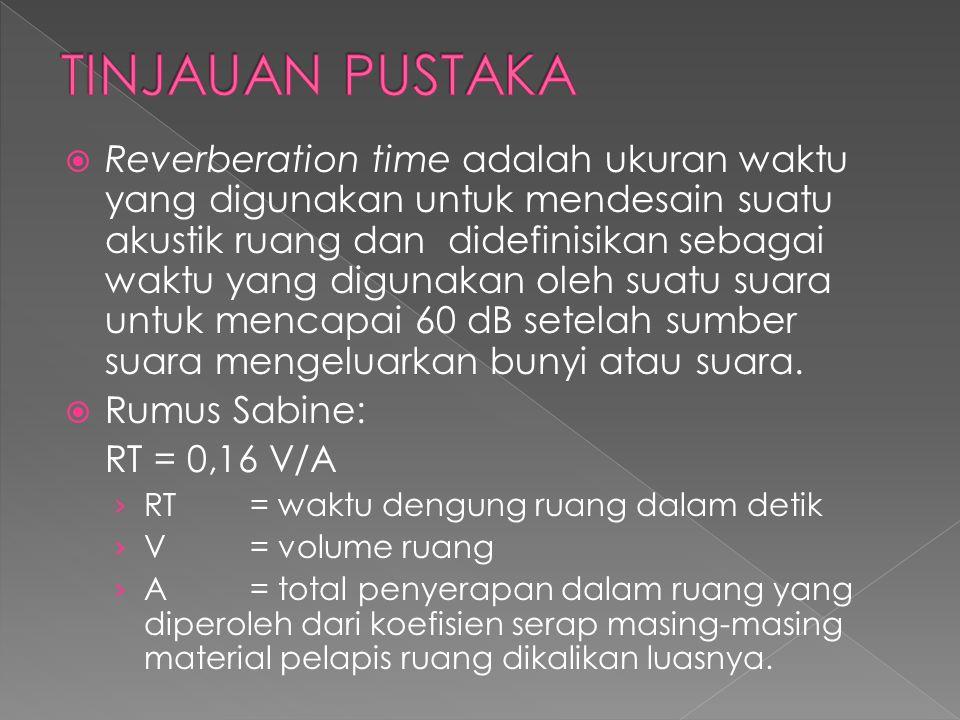  Reverberation time adalah ukuran waktu yang digunakan untuk mendesain suatu akustik ruang dan didefinisikan sebagai waktu yang digunakan oleh suatu