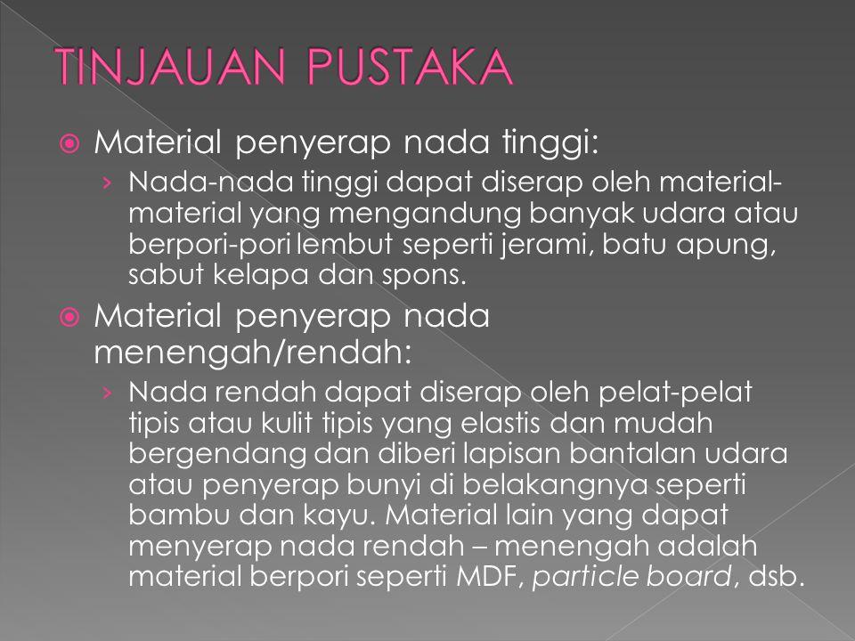  Material penyerap nada tinggi: › Nada-nada tinggi dapat diserap oleh material- material yang mengandung banyak udara atau berpori-pori lembut sepert
