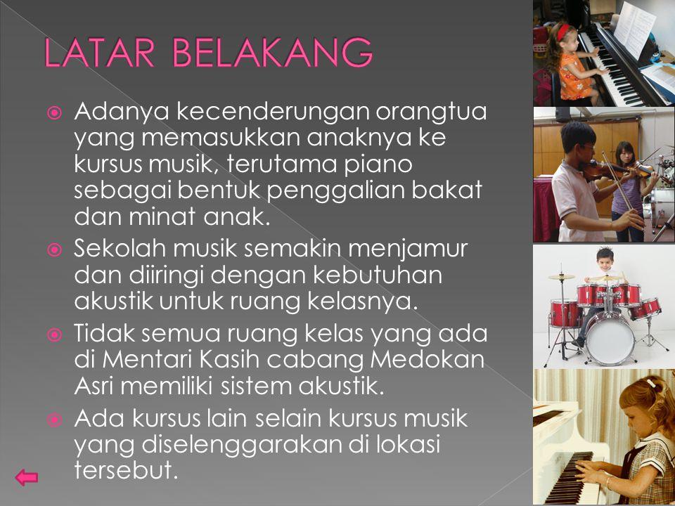  Adanya kecenderungan orangtua yang memasukkan anaknya ke kursus musik, terutama piano sebagai bentuk penggalian bakat dan minat anak.  Sekolah musi
