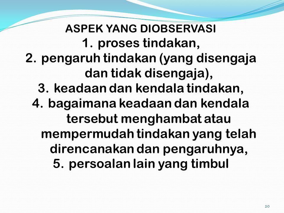 20 ASPEK YANG DIOBSERVASI 1.proses tindakan, 2.pengaruh tindakan (yang disengaja dan tidak disengaja), 3.keadaan dan kendala tindakan, 4.bagaimana kea