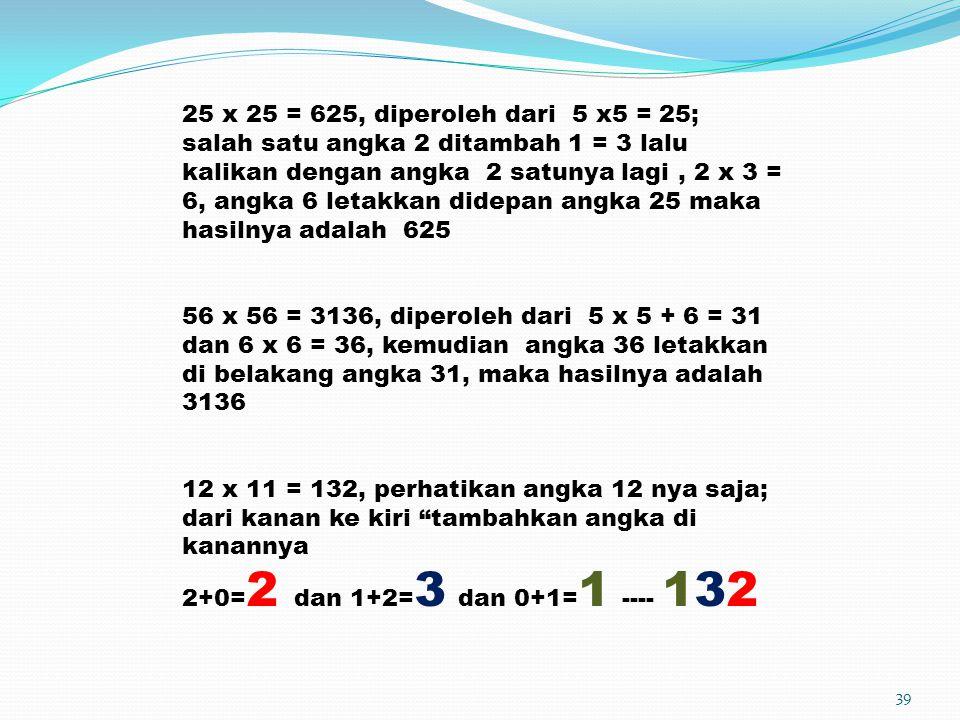 39 25 x 25 = 625, diperoleh dari 5 x5 = 25; salah satu angka 2 ditambah 1 = 3 lalu kalikan dengan angka 2 satunya lagi, 2 x 3 = 6, angka 6 letakkan di