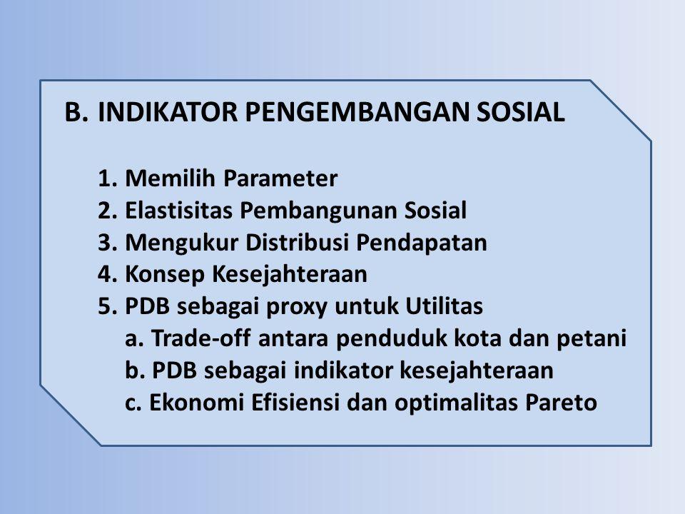 B.INDIKATOR PENGEMBANGAN SOSIAL 1.Memilih Parameter 2.Elastisitas Pembangunan Sosial 3.Mengukur Distribusi Pendapatan 4.Konsep Kesejahteraan 5.PDB seb