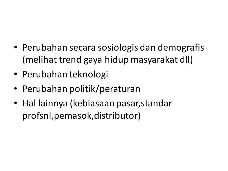• Perubahan secara sosiologis dan demografis (melihat trend gaya hidup masyarakat dll) • Perubahan teknologi • Perubahan politik/peraturan • Hal lainnya (kebiasaan pasar,standar profsnl,pemasok,distributor)