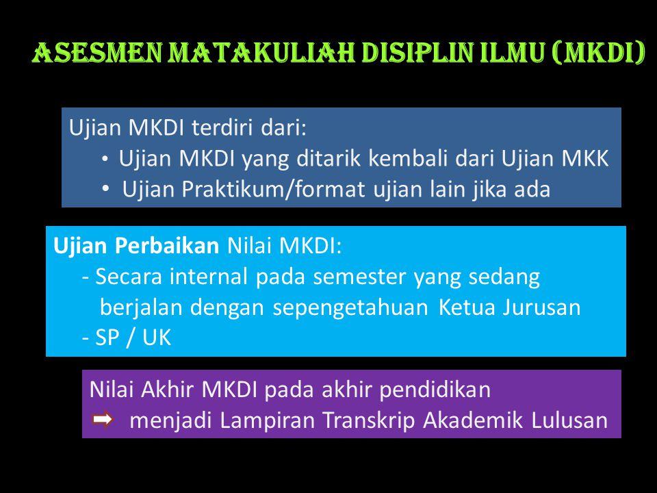 Asesmen Matakuliah Disiplin Ilmu (MKDI) Ujian MKDI terdiri dari: • Ujian MKDI yang ditarik kembali dari Ujian MKK • Ujian Praktikum/format ujian lain