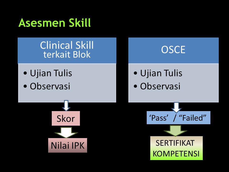 "Asesmen Skill Clinical Skill terkait Blok •Ujian Tulis •Observasi OSCE •Ujian Tulis •Observasi 'Pass' / ""Failed"" SERTIFIKAT KOMPETENSI Skor Nilai IPK"