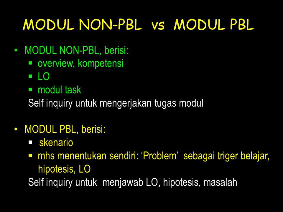 MODUL NON-PBL vs MODUL PBL • MODUL NON-PBL, berisi:  overview, kompetensi  LO  modul task Self inquiry untuk mengerjakan tugas modul • MODUL PBL, b
