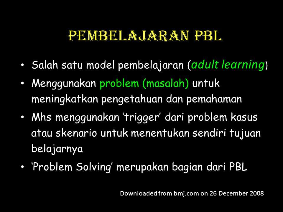 Pembelajaran PBL • Salah satu model pembelajaran ( adult learning ) • Menggunakan problem (masalah) untuk meningkatkan pengetahuan dan pemahaman • Mhs