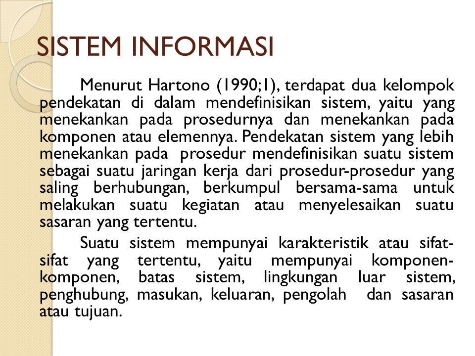 SISTEM INFORMASI Menurut Hartono (1990;1), terdapat dua kelompok pendekatan di dalam mendefinisikan sistem, yaitu yang menekankan pada prosedurnya dan
