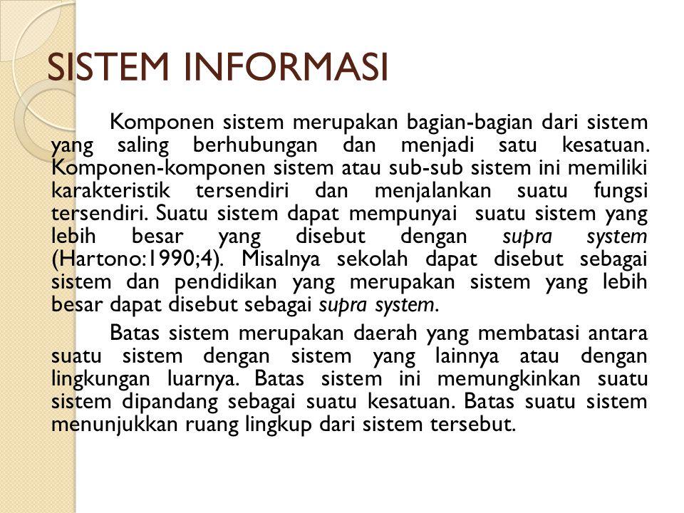 SISTEM INFORMASI Komponen sistem merupakan bagian-bagian dari sistem yang saling berhubungan dan menjadi satu kesatuan. Komponen-komponen sistem atau