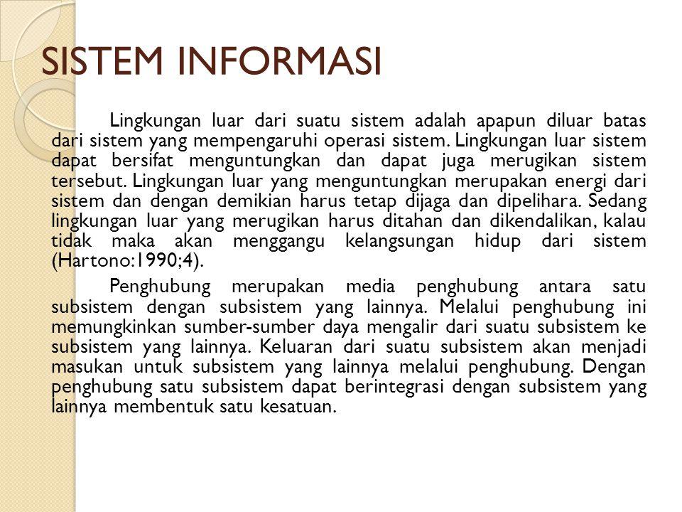 SISTEM INFORMASI Lingkungan luar dari suatu sistem adalah apapun diluar batas dari sistem yang mempengaruhi operasi sistem. Lingkungan luar sistem dap