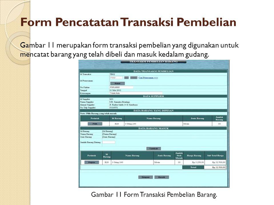 Form Pencatatan Transaksi Pembelian Gambar 11 Form Transaksi Pembelian Barang. Gambar 11 merupakan form transaksi pembelian yang digunakan untuk menca