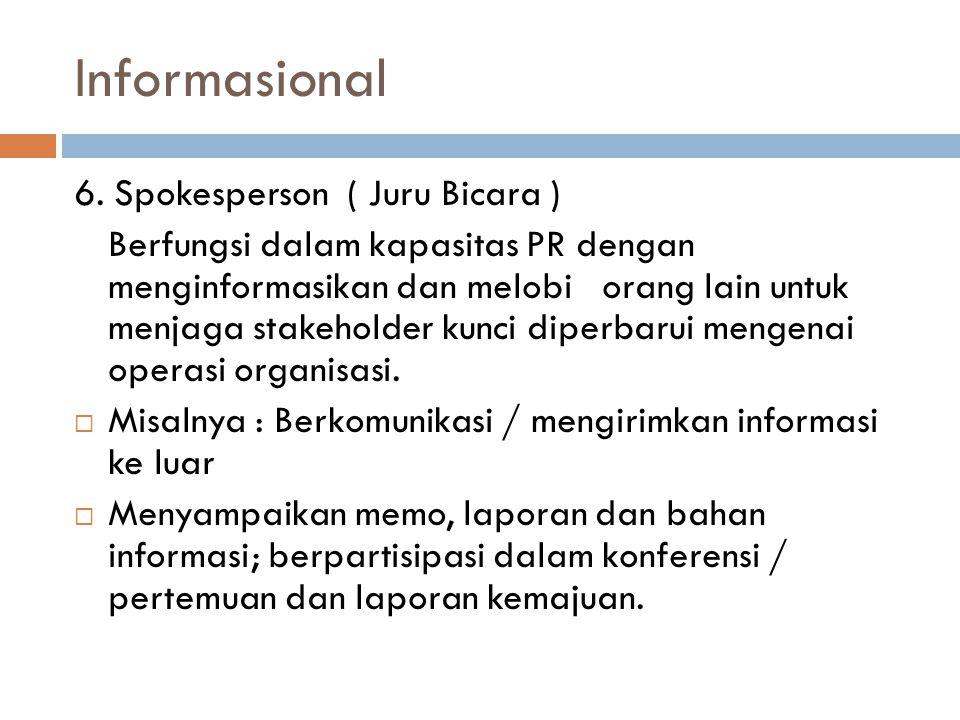 Informasional 6. Spokesperson ( Juru Bicara ) Berfungsi dalam kapasitas PR dengan menginformasikan dan melobi orang lain untuk menjaga stakeholder kun