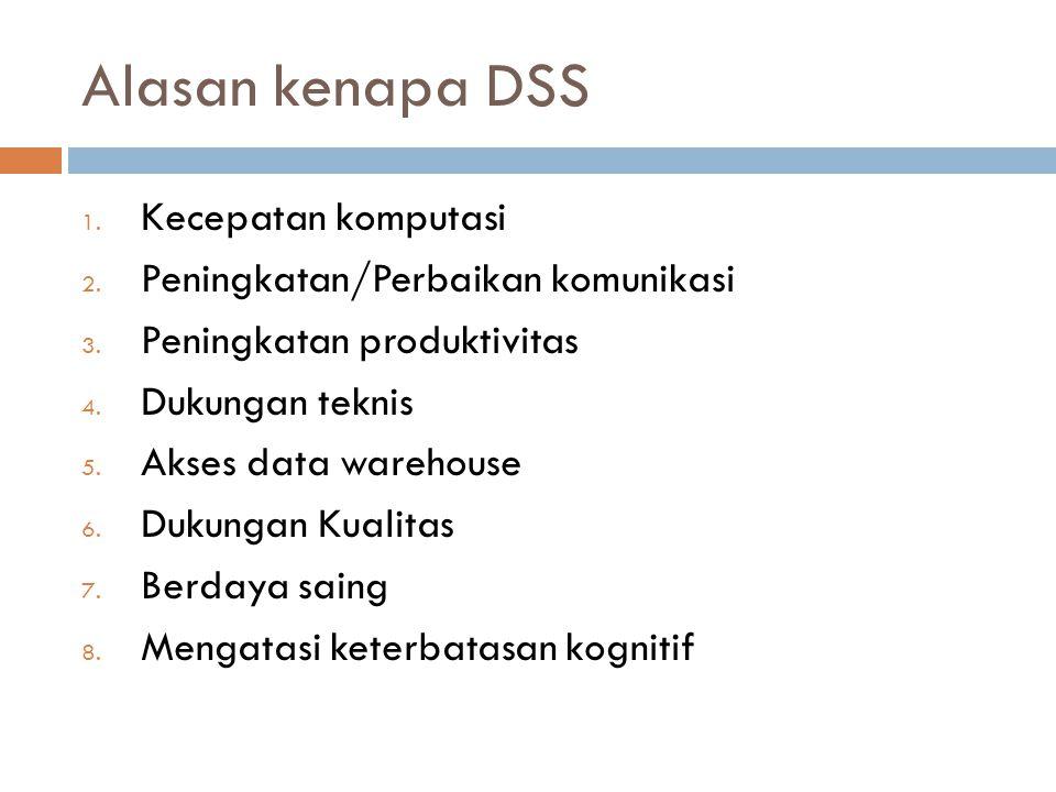 Alasan kenapa DSS 1. Kecepatan komputasi 2. Peningkatan/Perbaikan komunikasi 3.