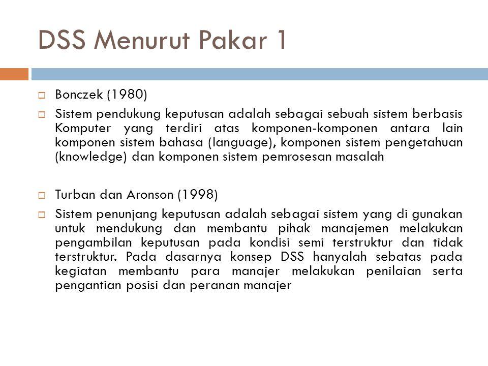 DSS Menurut Pakar 1  Bonczek (1980)  Sistem pendukung keputusan adalah sebagai sebuah sistem berbasis Komputer yang terdiri atas komponen-komponen a