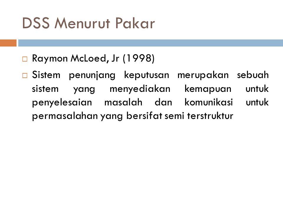 DSS Menurut Pakar  Raymon McLoed, Jr (1998)  Sistem penunjang keputusan merupakan sebuah sistem yang menyediakan kemapuan untuk penyelesaian masalah dan komunikasi untuk permasalahan yang bersifat semi terstruktur