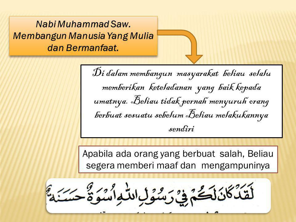 Nabi Muhammad saw menyempurnakan AKhlaq Di dalam da`wahnya Rasululloh Saw selain mengenalkan masyarakat Arab jahililiyah kepada Alloh Swt sebagai satu