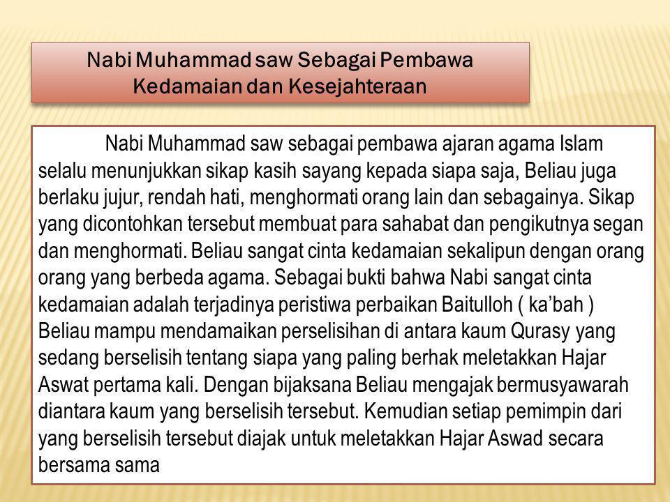 Nabi Muhammad Saw Sebagai Pembawa Rahmad Bagi Alam Semesta Dan tiadalah Kami mengutus kamu, melainkan untuk ( menjadi ) rahmat bagi semesta alam. ( Al Anbiya' : 107 ).