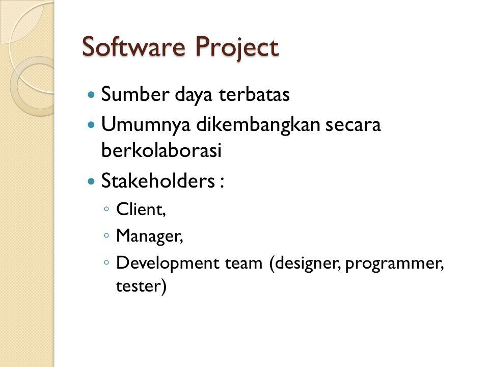 Software Project  Sumber daya terbatas  Umumnya dikembangkan secara berkolaborasi  Stakeholders : ◦ Client, ◦ Manager, ◦ Development team (designer