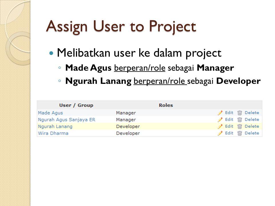 Assign User to Project  Melibatkan user ke dalam project ◦ Made Agus berperan/role sebagai Manager ◦ Ngurah Lanang berperan/role sebagai Developer
