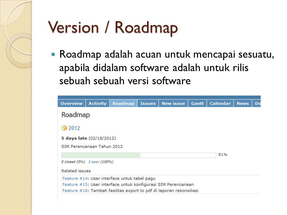 Version / Roadmap  Roadmap adalah acuan untuk mencapai sesuatu, apabila didalam software adalah untuk rilis sebuah sebuah versi software