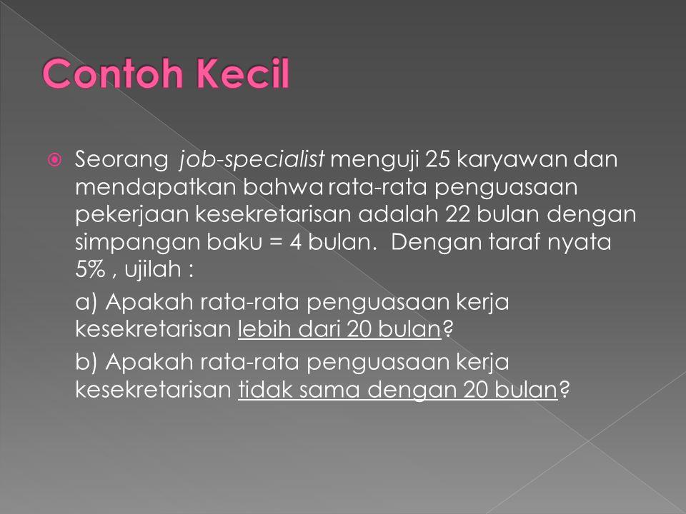  Seorang job-specialist menguji 25 karyawan dan mendapatkan bahwa rata-rata penguasaan pekerjaan kesekretarisan adalah 22 bulan dengan simpangan baku