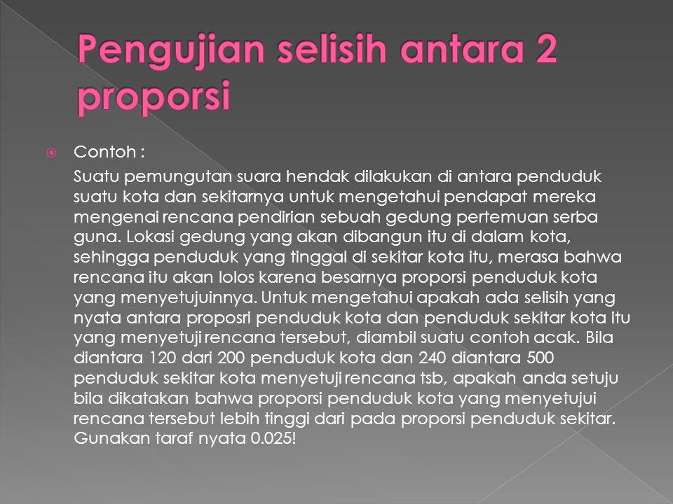  Contoh : Suatu pemungutan suara hendak dilakukan di antara penduduk suatu kota dan sekitarnya untuk mengetahui pendapat mereka mengenai rencana pend