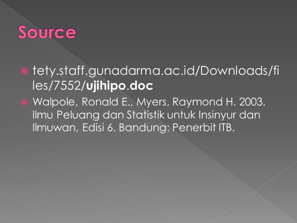  tety.staff.gunadarma.ac.id/Downloads/fi les/7552/ ujihipo. doc  Walpole, Ronald E., Myers, Raymond H. 2003. Ilmu Peluang dan Statistik untuk Insiny