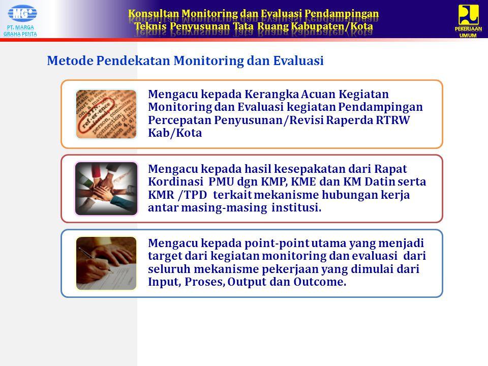 Metode Pendekatan Monitoring dan Evaluasi Mengacu kepada Kerangka Acuan Kegiatan Monitoring dan Evaluasi kegiatan Pendampingan Percepatan Penyusunan/Revisi Raperda RTRW Kab/Kota Mengacu kepada hasil kesepakatan dari Rapat Kordinasi PMU dgn KMP, KME dan KM Datin serta KMR /TPD terkait mekanisme hubungan kerja antar masing-masing institusi.