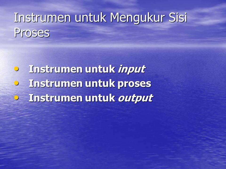 Instrumen untuk Mengukur Sisi Proses • Instrumen untuk input • Instrumen untuk proses • Instrumen untuk output