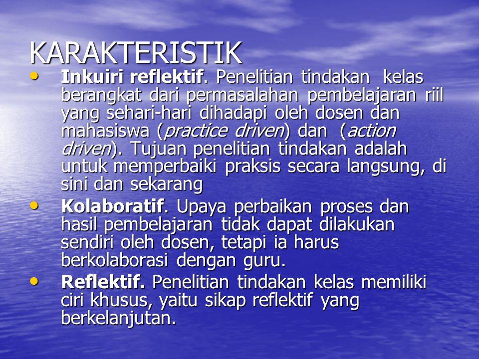 KARAKTERISTIK • Inkuiri reflektif.