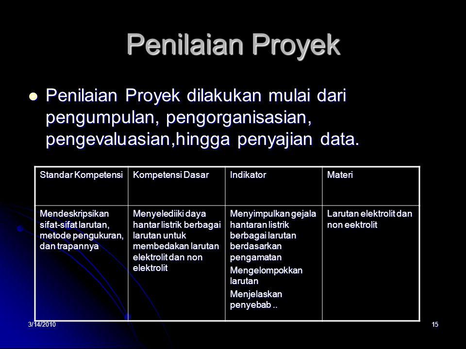 3/14/201015 Penilaian Proyek  Penilaian Proyek dilakukan mulai dari pengumpulan, pengorganisasian, pengevaluasian,hingga penyajian data.