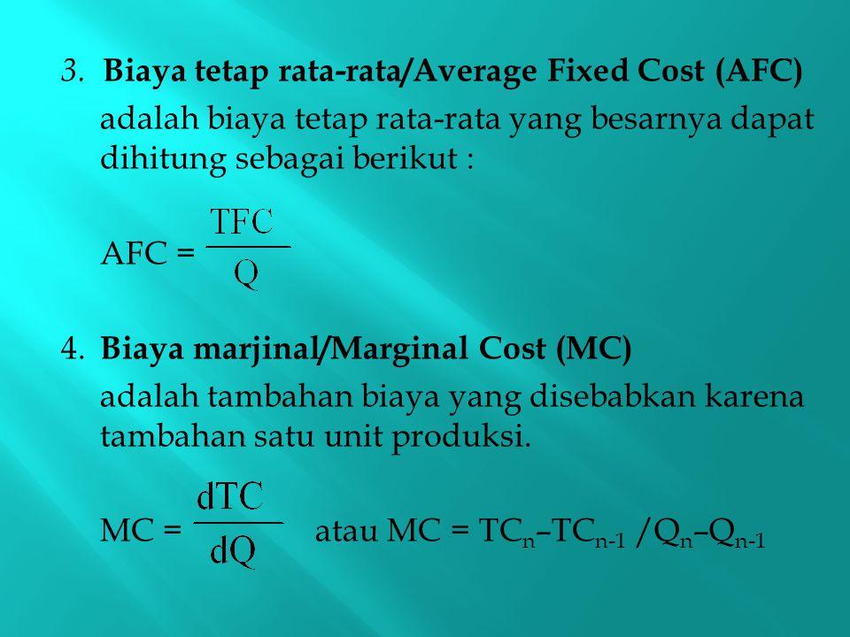 3. Biaya tetap rata-rata/Average Fixed Cost (AFC) adalah biaya tetap rata-rata yang besarnya dapat dihitung sebagai berikut : AFC = 4. Biaya marjinal/