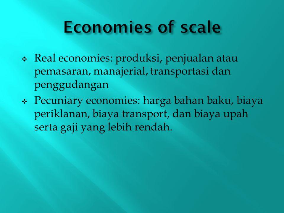  Real economies: produksi, penjualan atau pemasaran, manajerial, transportasi dan penggudangan  Pecuniary economies: harga bahan baku, biaya perikla