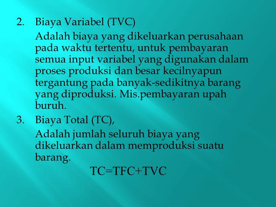2.Biaya Variabel (TVC) Adalah biaya yang dikeluarkan perusahaan pada waktu tertentu, untuk pembayaran semua input variabel yang digunakan dalam proses