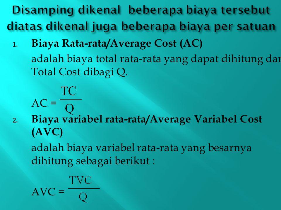 1. Biaya Rata-rata/Average Cost (AC) adalah biaya total rata ‑ rata yang dapat dihitung dari Total Cost dibagi Q. AC = 2. Biaya variabel rata-rata/Ave