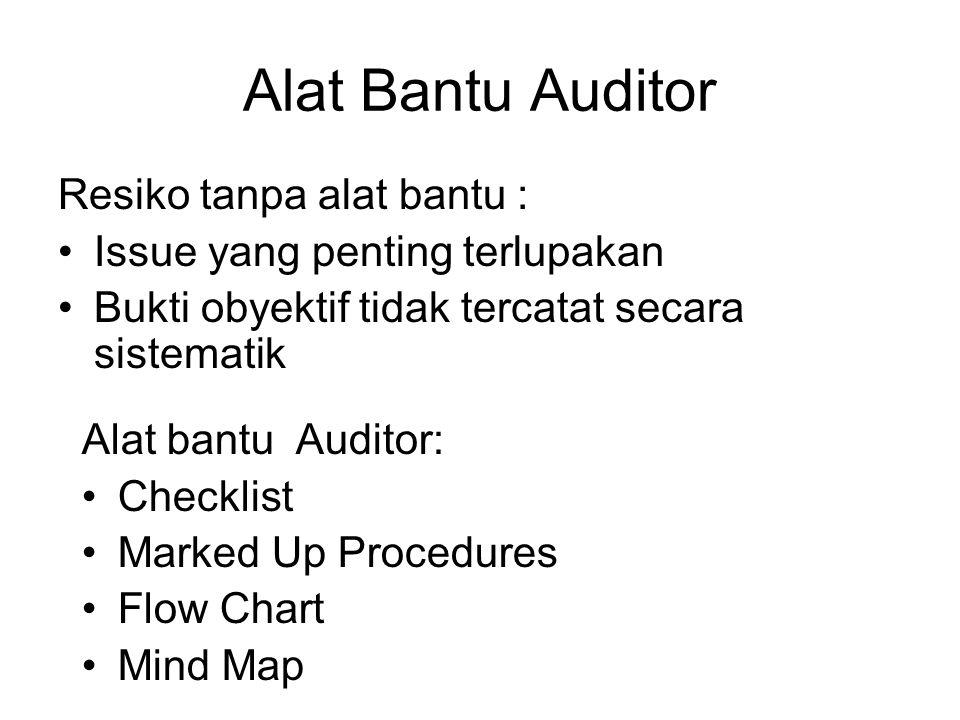 Alat Bantu Auditor Resiko tanpa alat bantu : •Issue yang penting terlupakan •Bukti obyektif tidak tercatat secara sistematik Alat bantu Auditor: •Checklist •Marked Up Procedures •Flow Chart •Mind Map