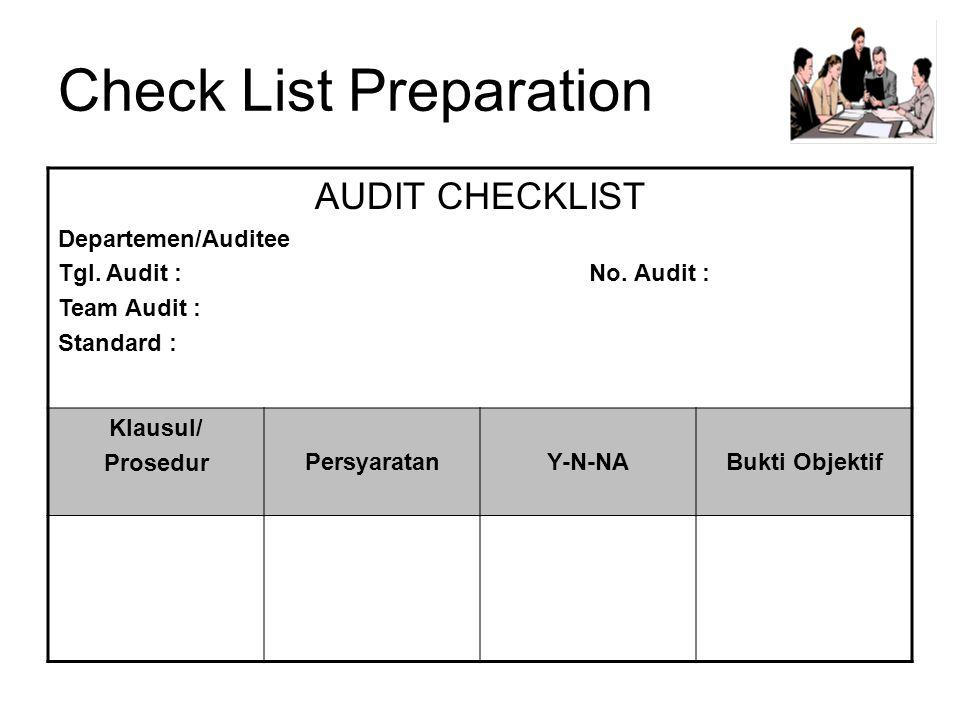 Check List Preparation AUDIT CHECKLIST Departemen/Auditee Tgl.