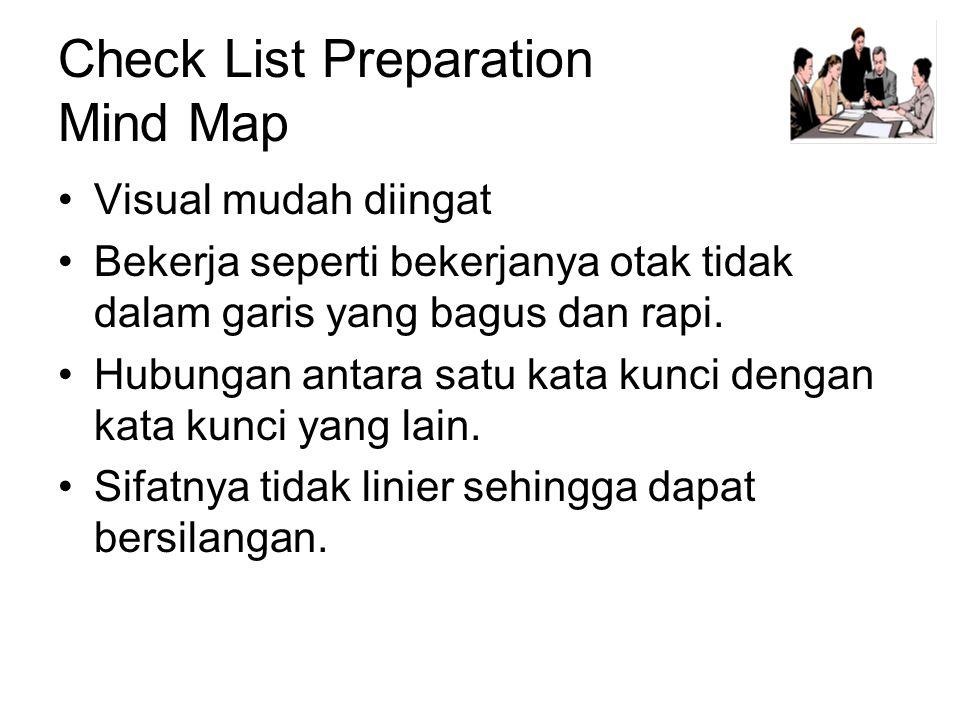 Check List Preparation Mind Map •Visual mudah diingat •Bekerja seperti bekerjanya otak tidak dalam garis yang bagus dan rapi.