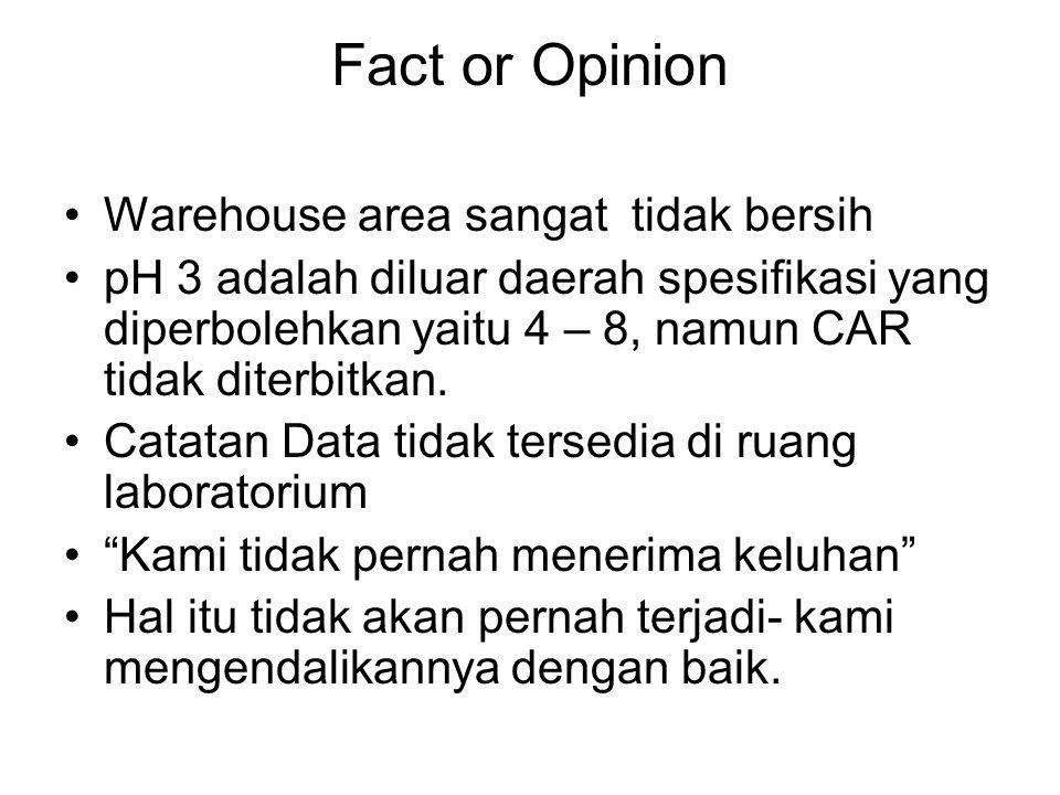 Fact or Opinion •Warehouse area sangat tidak bersih •pH 3 adalah diluar daerah spesifikasi yang diperbolehkan yaitu 4 – 8, namun CAR tidak diterbitkan.
