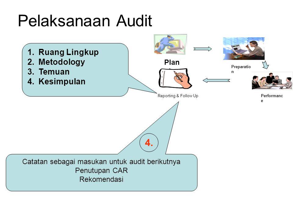 Pelaksanaan Audit Plan ning Reporting & Follow Up Preparatio n Performanc e 1.Ruang Lingkup 2.Metodology 3.Temuan 4.Kesimpulan Catatan sebagai masukan untuk audit berikutnya Penutupan CAR Rekomendasi 4.
