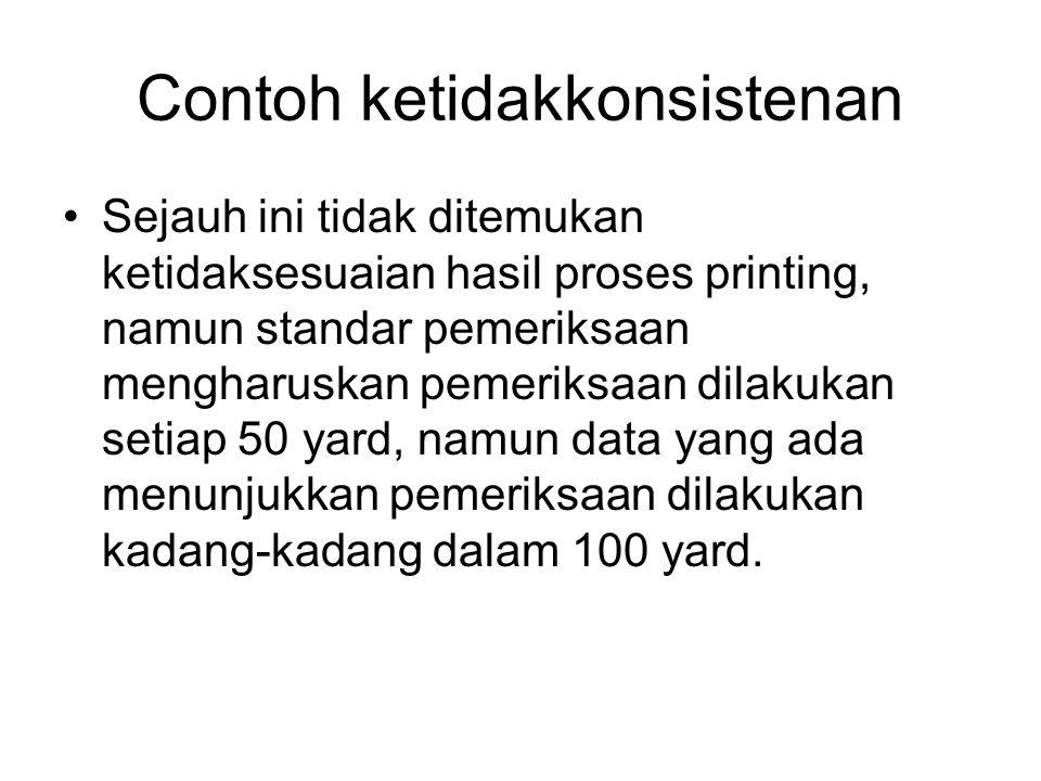 Contoh ketidakkonsistenan •Sejauh ini tidak ditemukan ketidaksesuaian hasil proses printing, namun standar pemeriksaan mengharuskan pemeriksaan dilakukan setiap 50 yard, namun data yang ada menunjukkan pemeriksaan dilakukan kadang-kadang dalam 100 yard.